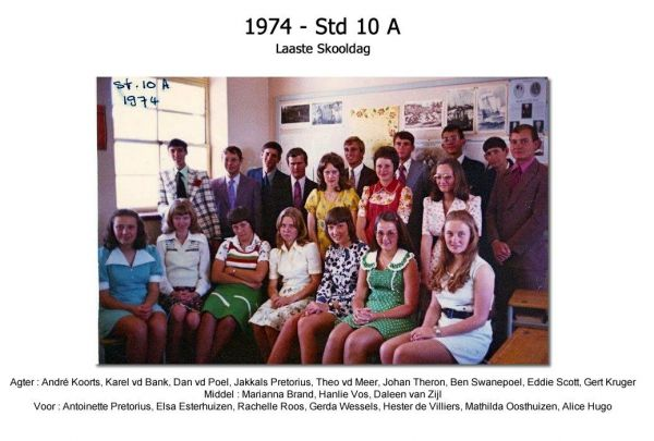 1974 - Std 10 A - Laaste Skooldag