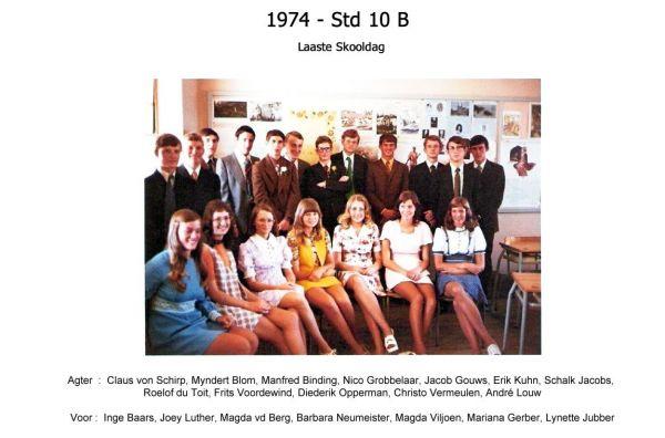 1974 - Std 10 B Laaste Skooldag